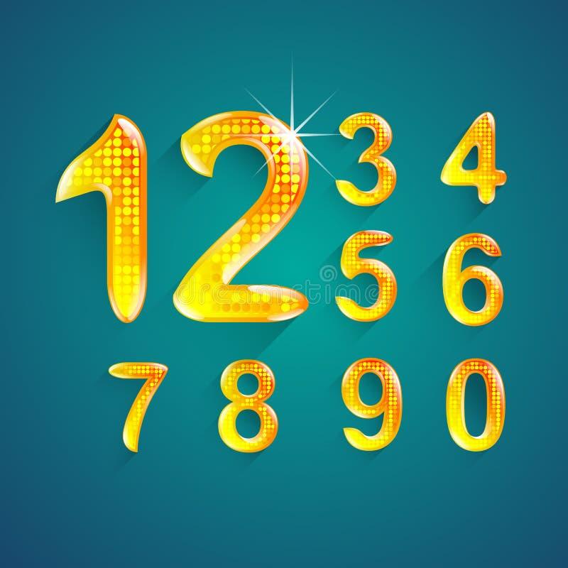 El sistema del alfabeto numera el estilo 0 a 9 de los colores del cristal stock de ilustración