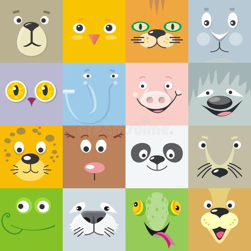 El sistema del animal hace frente al ejemplo plano del vector del estilo stock de ilustración
