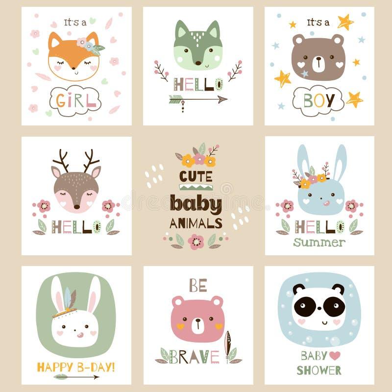El sistema del animal lindo del bebé carda el ejemplo del vector stock de ilustración