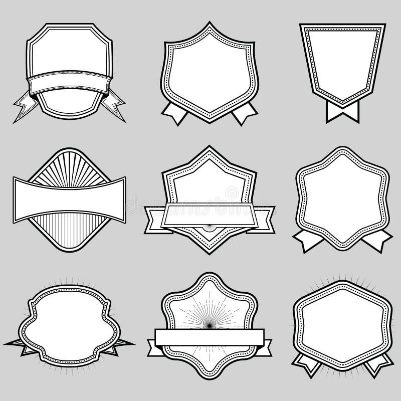 El sistema del bastidor en blanco badges cintas y el sistema de etiquetas 3 Illus del vector ilustración del vector