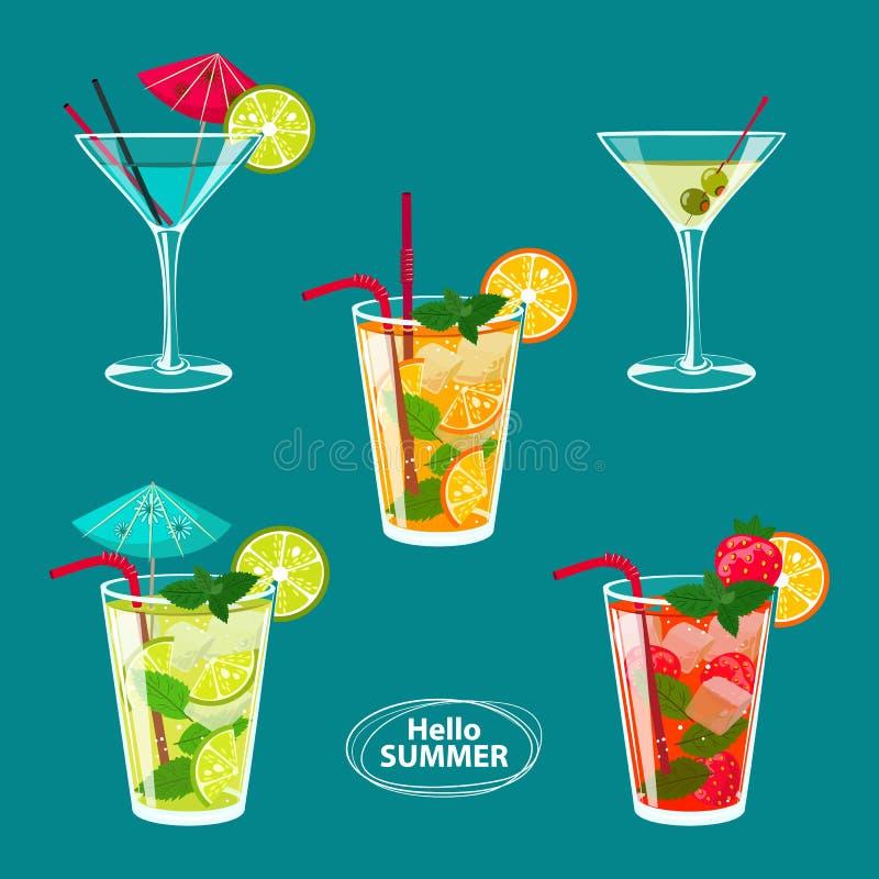 El sistema del bosquejo colorido de los cócteles y de otro del alcohol bebe stock de ilustración