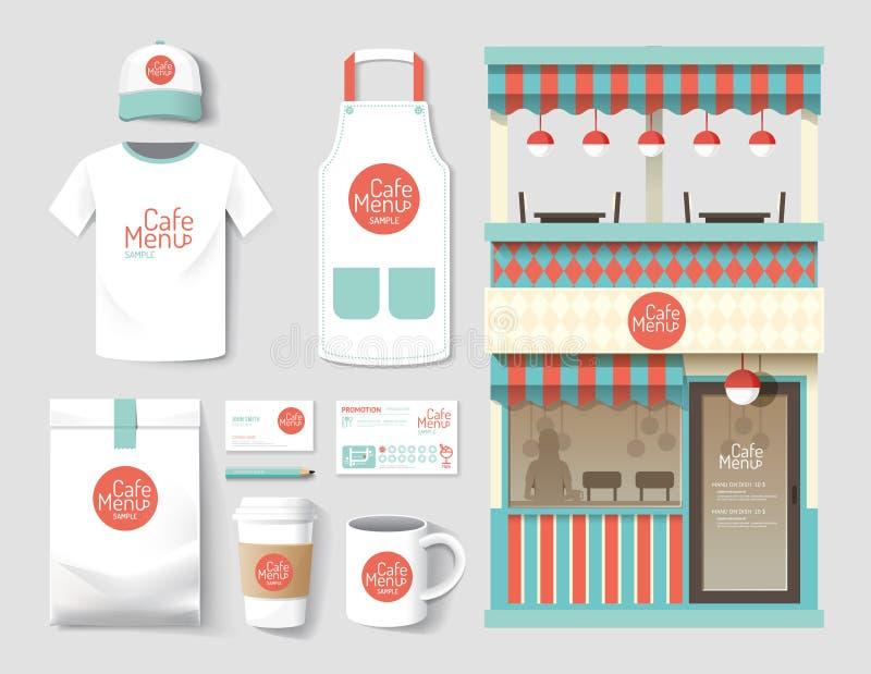 El sistema del café del restaurante del vector, hace compras diseño delantero, aviador, paquete, t stock de ilustración