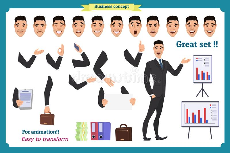 El sistema del carácter del hombre de negocios presenta, los gestos, acciones, elementos del cuerpo Aislado en blanco stock de ilustración