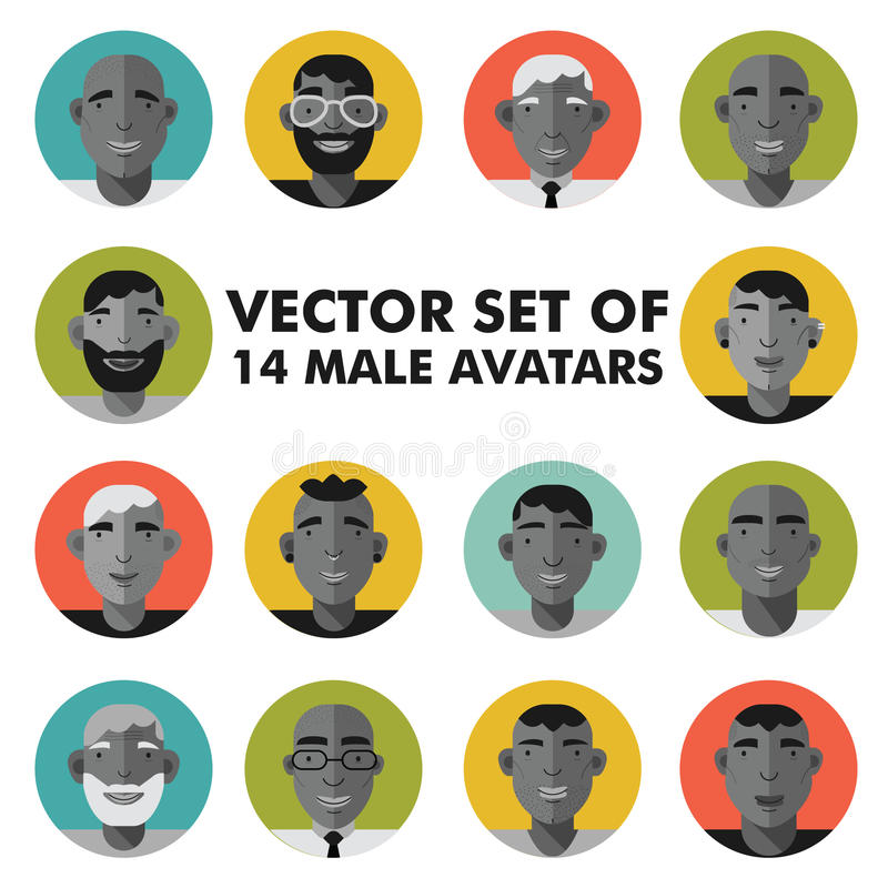 El sistema del carácter masculino hace frente a avatares Iconos planos de la gente del estilo fijados foto de archivo libre de regalías