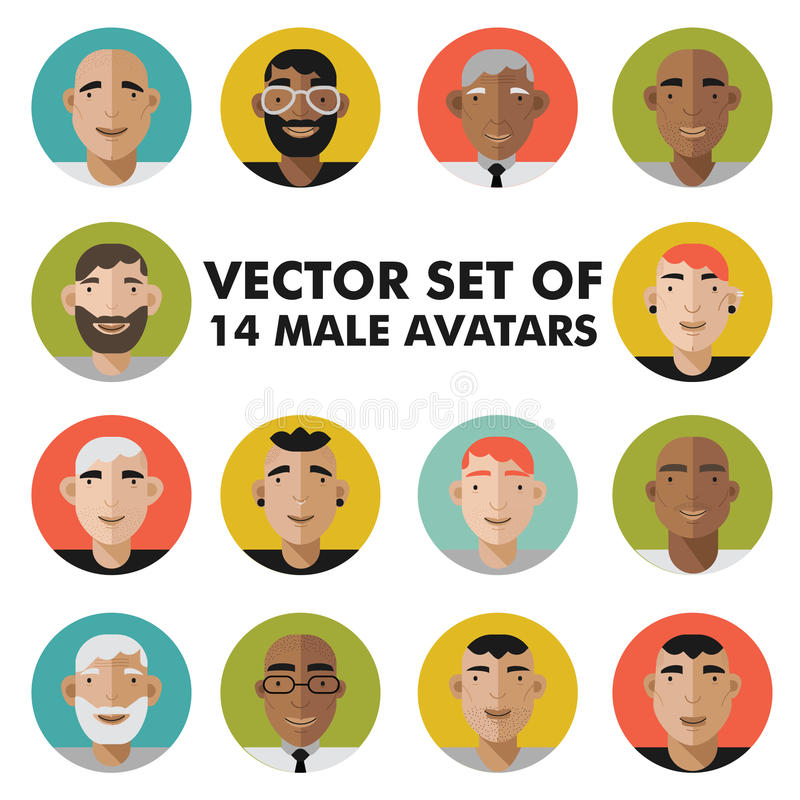 El sistema del carácter masculino hace frente a avatares Iconos planos de la gente del vector del estilo fijados imagen de archivo libre de regalías