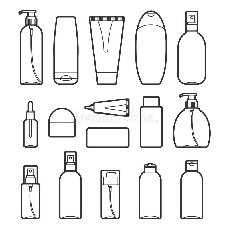 El sistema del cosmético del vector embotella la línea iconos del estilo ilustración del vector