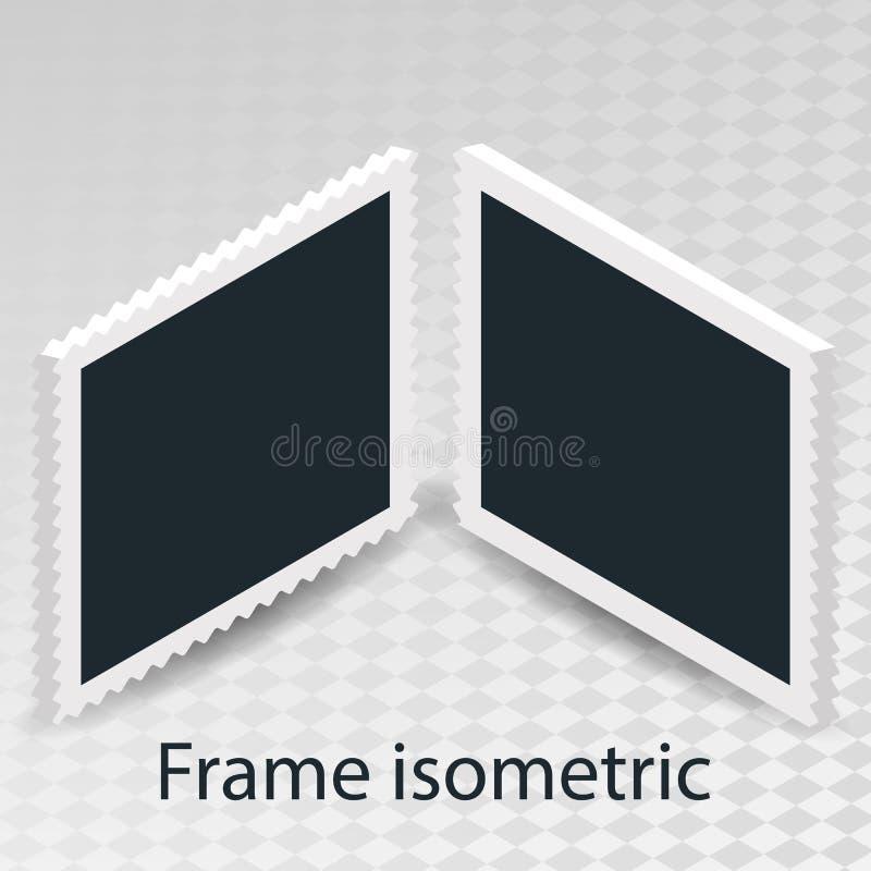El sistema del cubo isométrico del concepto rotatorio con el marco retro de la foto, dobla el objeto aislado en fondo transparent libre illustration