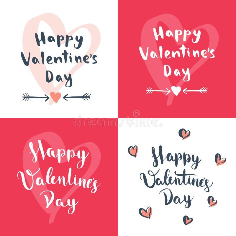 El sistema del día del ` s de cuatro tarjetas del día de San Valentín diseña libre illustration