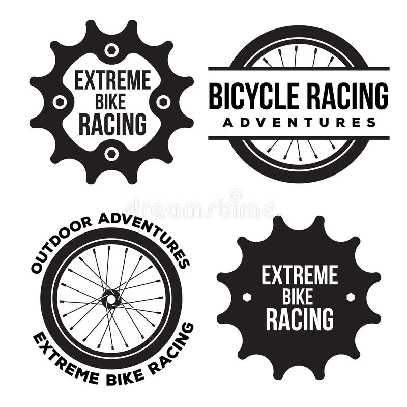 El sistema del deporte extremo de la bicicleta relacionó el logotipo, emblemas libre illustration