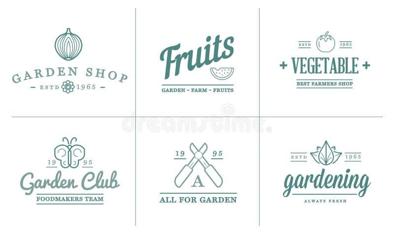 El sistema del ejemplo de los iconos del jardín del vector y de los elementos y de las frutas o de las verduras de la granja se p stock de ilustración