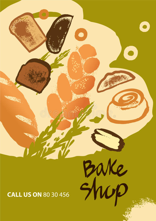 El sistema del ejemplo del pan y el rollo para el menú cuecen la tienda stock de ilustración