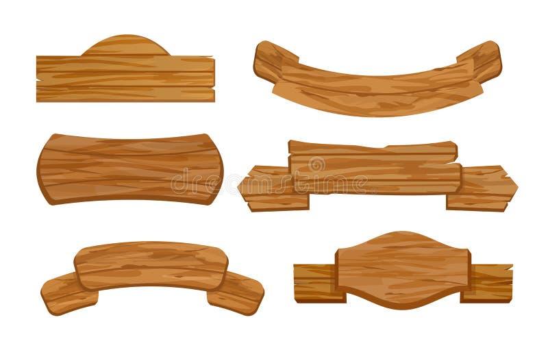 El sistema del ejemplo del vector de tablones o de la muestra en blanco o vacíos, de madera sube para la tienda Banderas retras v ilustración del vector