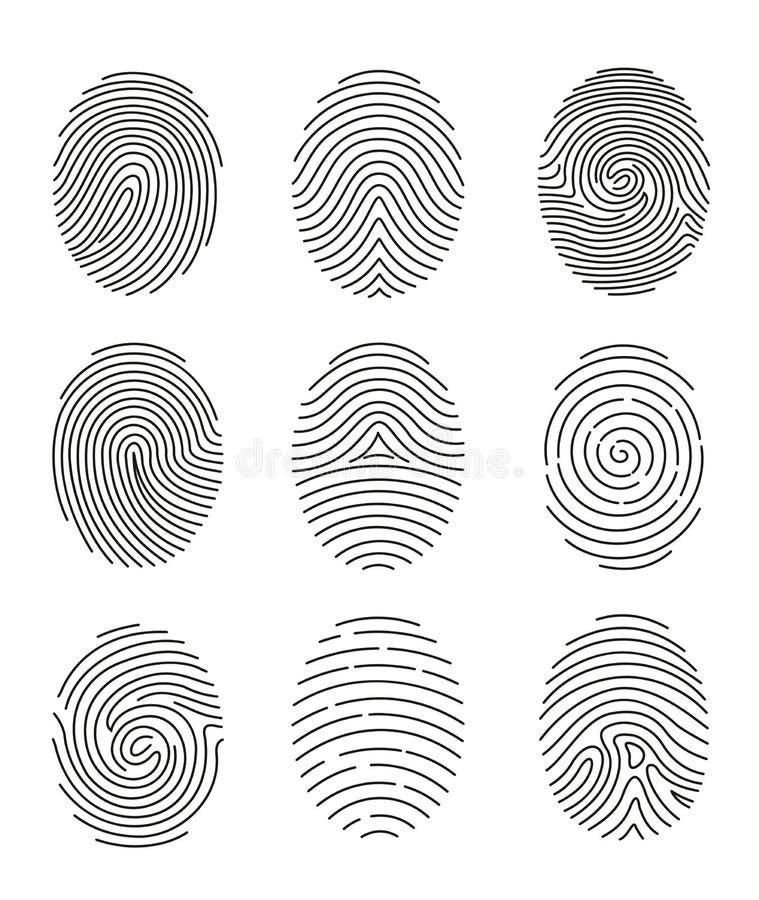 El sistema del ejemplo del vector nueve de la línea negra huella dactilar mecanografía en el fondo blanco libre illustration
