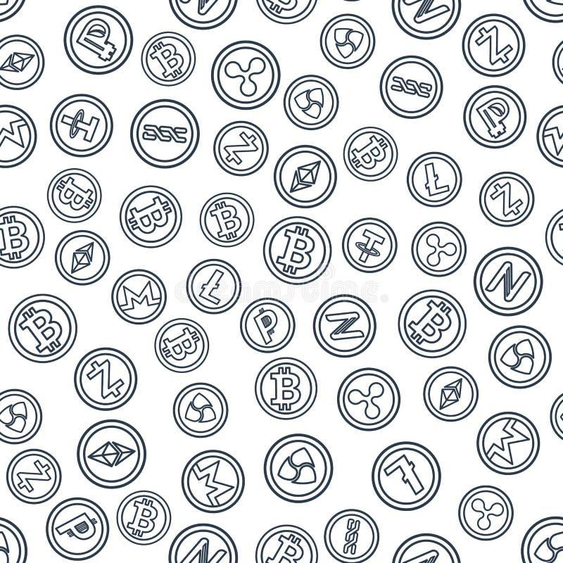 El sistema del esquema acuña con símbolos y muestras del Cu crypto popular stock de ilustración