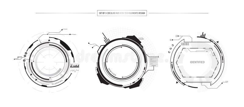 El sistema del extracto de 3 elementos del concepto de la innovación del icono de HUD UI diseña en el fondo blanco ilustración del vector