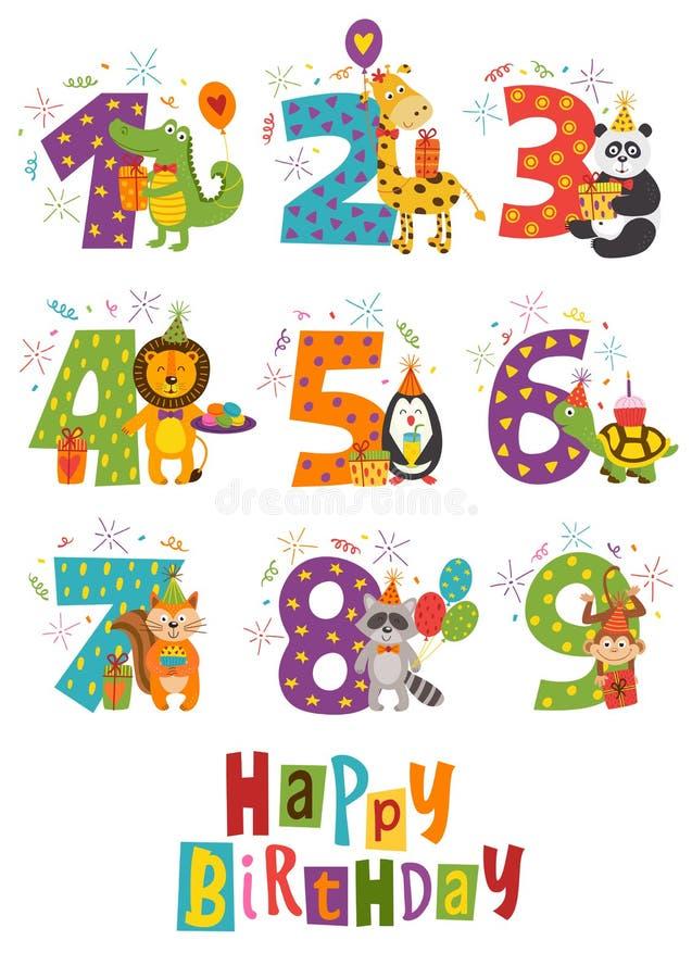 El sistema del feliz cumpleaños aislado numera con los animales divertidos ilustración del vector