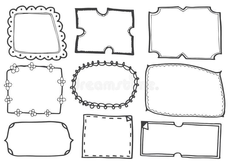 El sistema del garabato alinea el ejemplo dibujado mano del vector de los marcos ilustración del vector