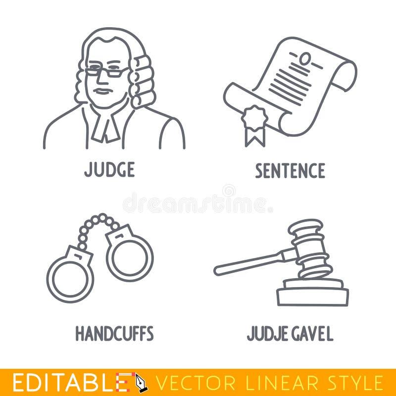 El sistema del icono de la ley incluye a Jude Sentence Handclufs Gawel ilustración del vector