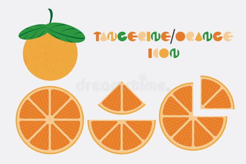 El sistema del icono de la mandarina y el gráfico anaranjado con forma circular diseñan ilustración del vector