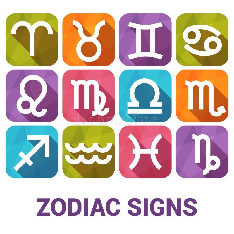 El sistema del icono del vector de zodiaco firma adentro estilo plano ilustración del vector
