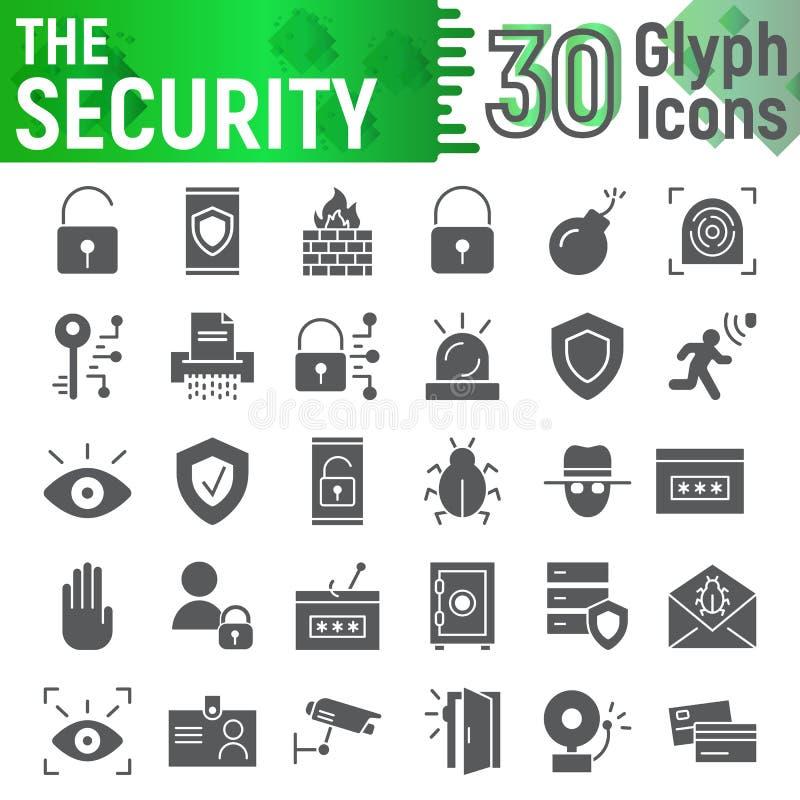 El sistema del icono del glyph de la seguridad, símbolos colección, bosquejos del vector, ejemplos del logotipo, defensa de la pr libre illustration