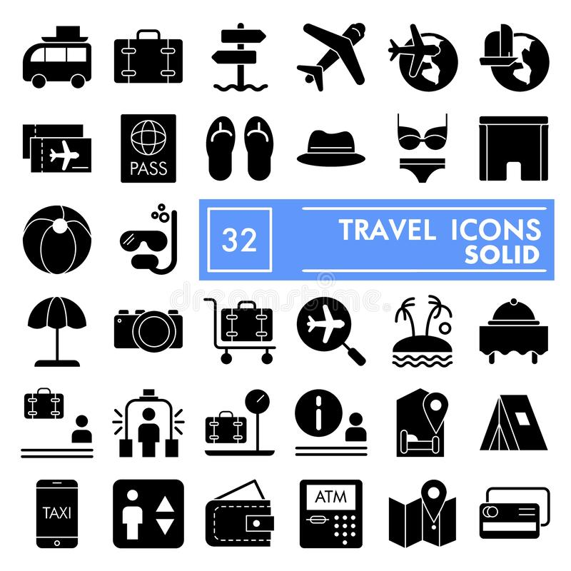 El sistema del icono del glyph del viaje, símbolos colección, bosquejos del vector, ejemplos del logotipo, turismo de las vacacio ilustración del vector