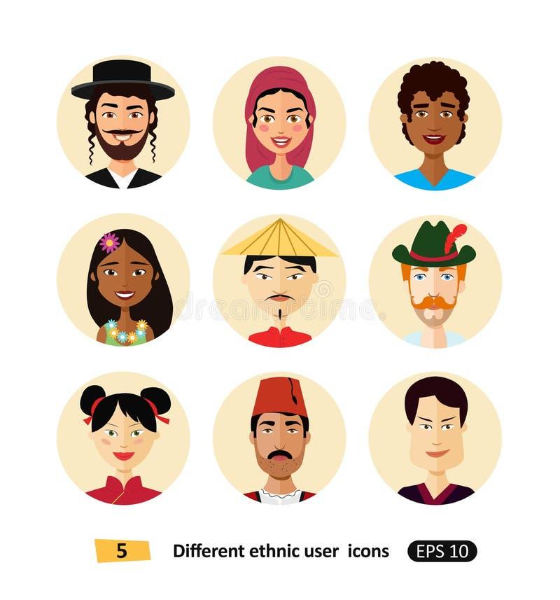 El sistema del icono internacional del avatar de la gente del hombre y de la mujer se vistió en iconos planos de los usuarios de  ilustración del vector