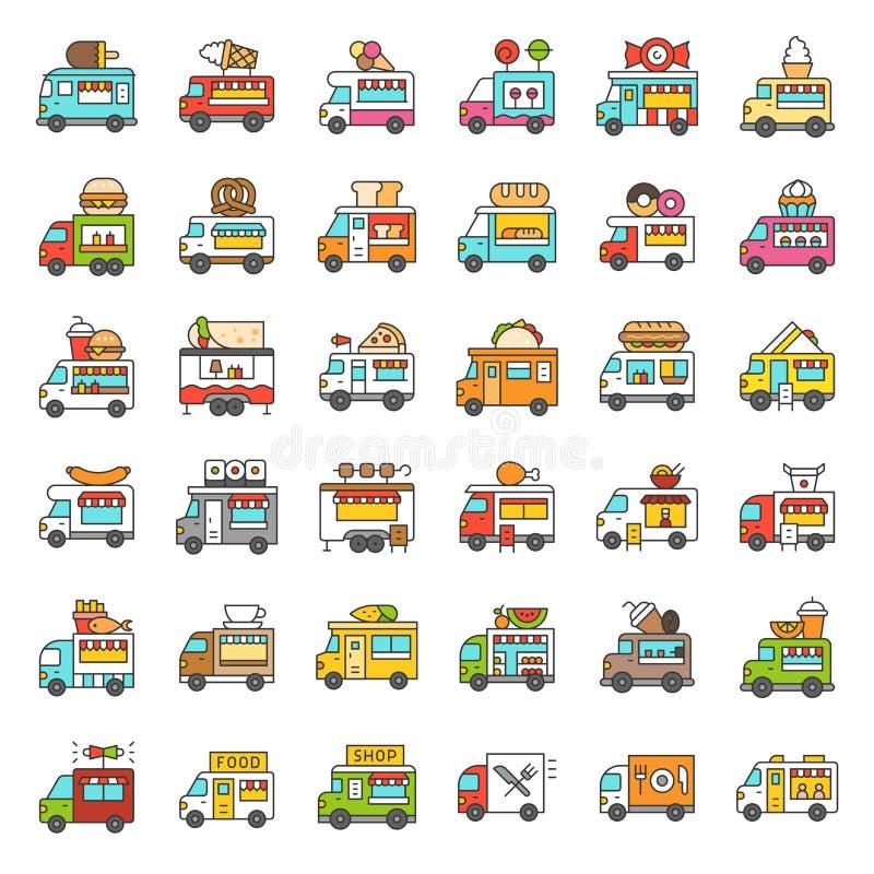 El sistema del icono del vector del camión de la comida, llenó el movimiento editable del estilo stock de ilustración