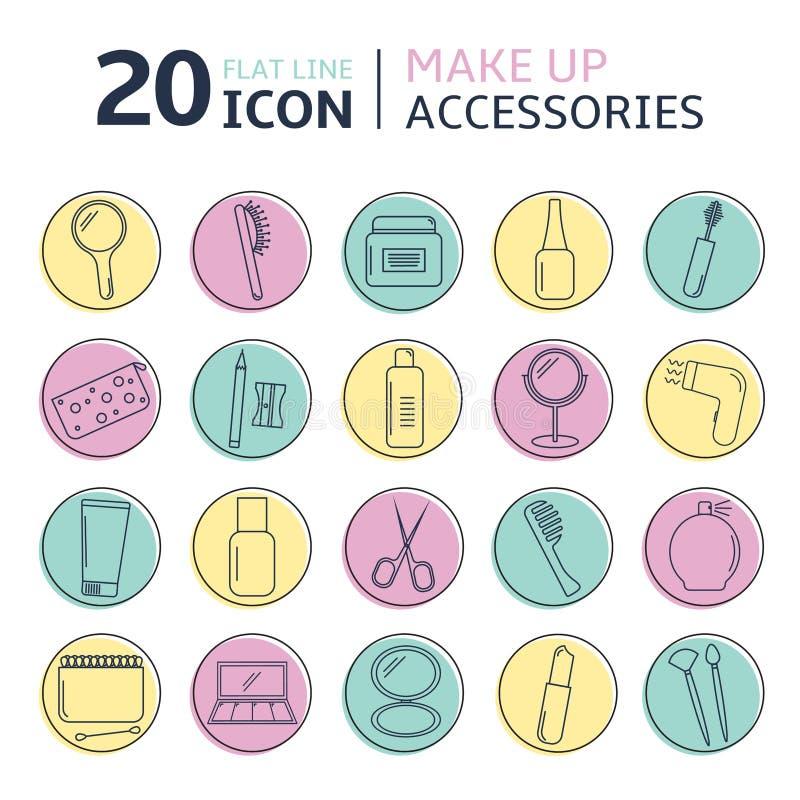 El sistema del icono del vector de compone los accesorios Línea cosmética sistema del flet de los accesorios libre illustration