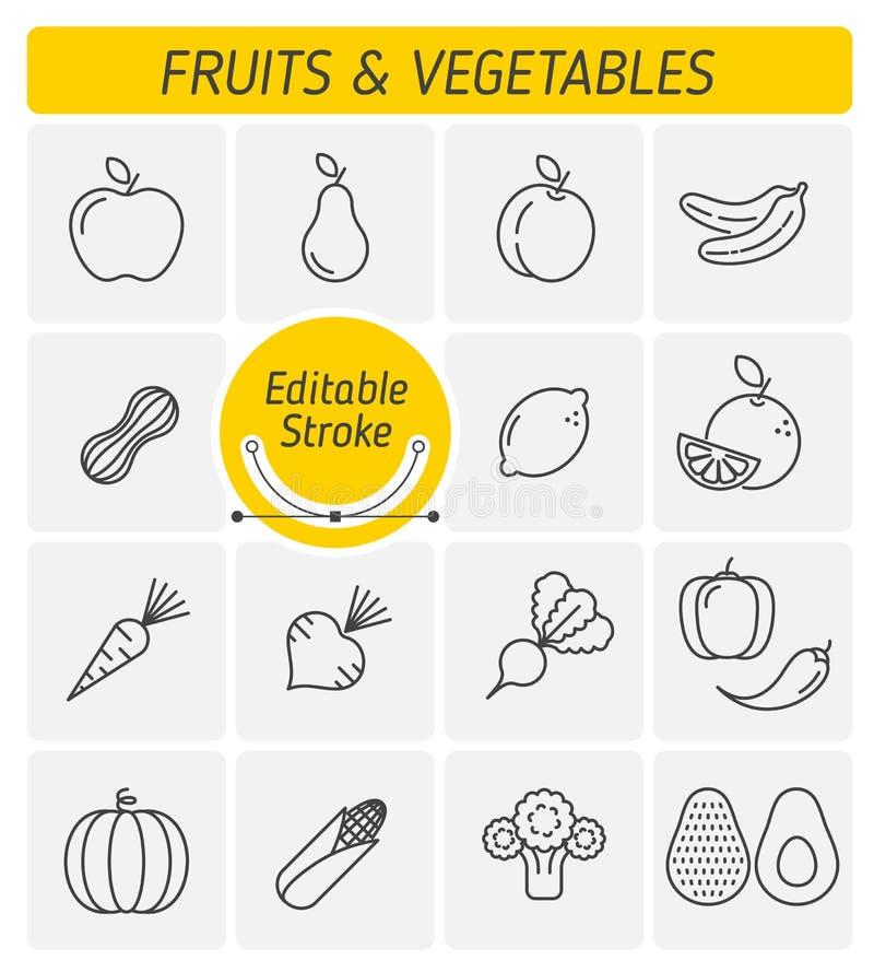 El sistema del icono del vector del esquema de las frutas y verduras stock de ilustración