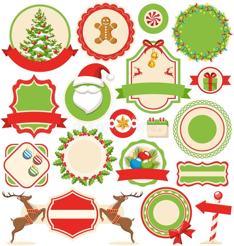 El sistema del invierno de la Navidad etiqueta iconos colección plana encendido stock de ilustración
