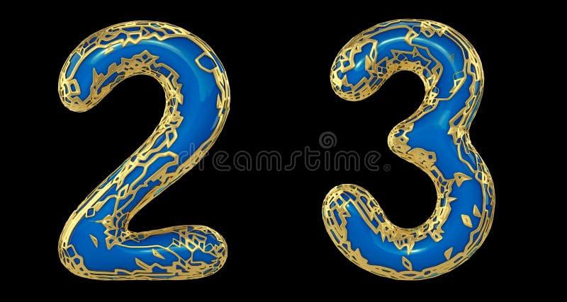 El sistema 2, 3 del n?mero hechos de 3d realista rinde met?lico brillante de oro Colección de oro que brilla metálica con color a ilustración del vector