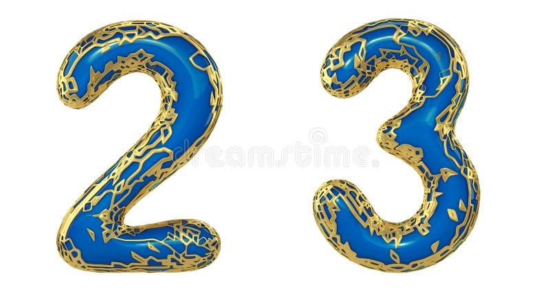 El sistema 2, 3 del n?mero hechos de 3d realista rinde met?lico brillante de oro Colección de oro que brilla metálica con color a stock de ilustración