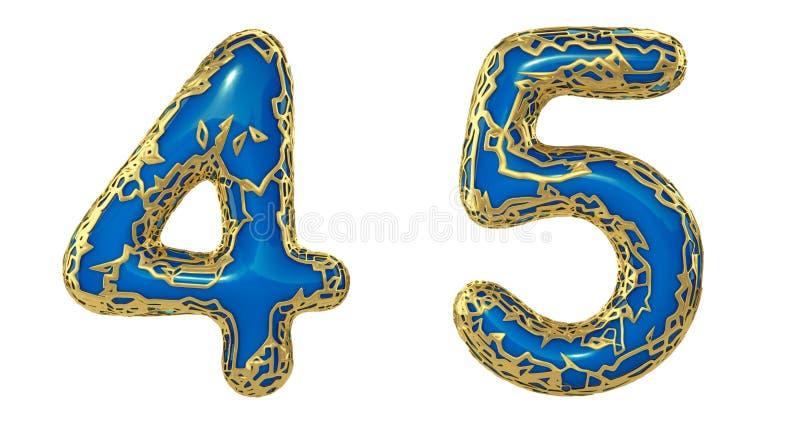 El sistema 4, 5 del n?mero hechos de 3d realista rinde met?lico brillante de oro Colección de oro que brilla metálica con color a stock de ilustración