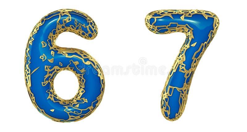 El sistema 6, 7 del n?mero hechos de 3d realista rinde met?lico brillante de oro Colección de oro que brilla metálica con color a stock de ilustración