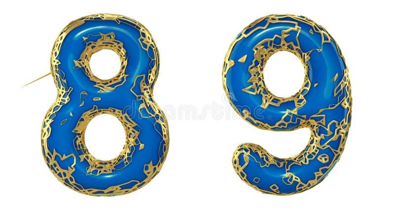 El sistema 8, 9 del n?mero hechos de 3d realista rinde met?lico brillante de oro Colección de oro que brilla metálica con color a ilustración del vector