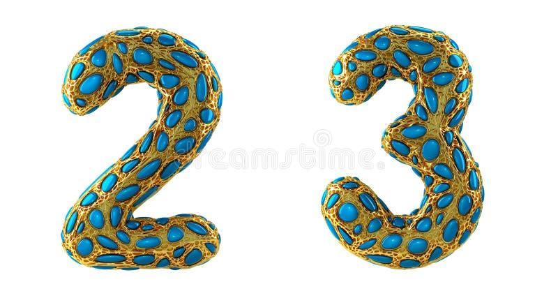 El sistema 2, 3 del n?mero hechos de 3d realista rinde met?lico brillante de oro ilustración del vector