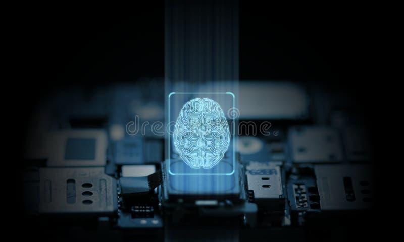 El sistema del ordenador y de teléfono móvil es gestionado por el chipset del hardware de la inteligencia artificial Icono del ce imagen de archivo
