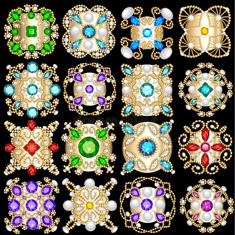 el sistema del ornamento de los colgantes del vintage de la joyería hecho de sea libre illustration