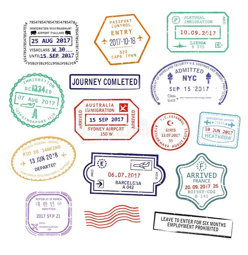 El sistema del pasaporte de la visa sella para el viaje al aeropuerto, a Singapur o a New York City de Reino Unido Heathrow stock de ilustración