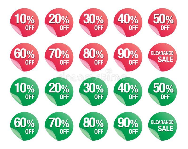 El sistema del por ciento descuenta los iconos de la muestra, símbolo de la venta, vector de las ventas stock de ilustración