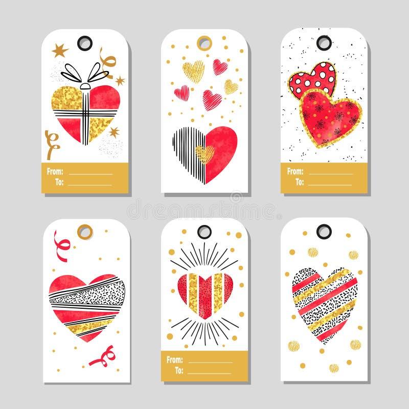 El sistema del regalo del día de tarjetas del día de San Valentín marca con etiqueta con los corazones stock de ilustración