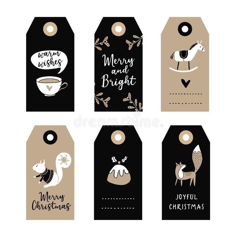 El sistema del regalo lindo de la Navidad marca con etiqueta, las etiquetas con la ardilla, zorro, pudín de la Navidad y caballo  libre illustration