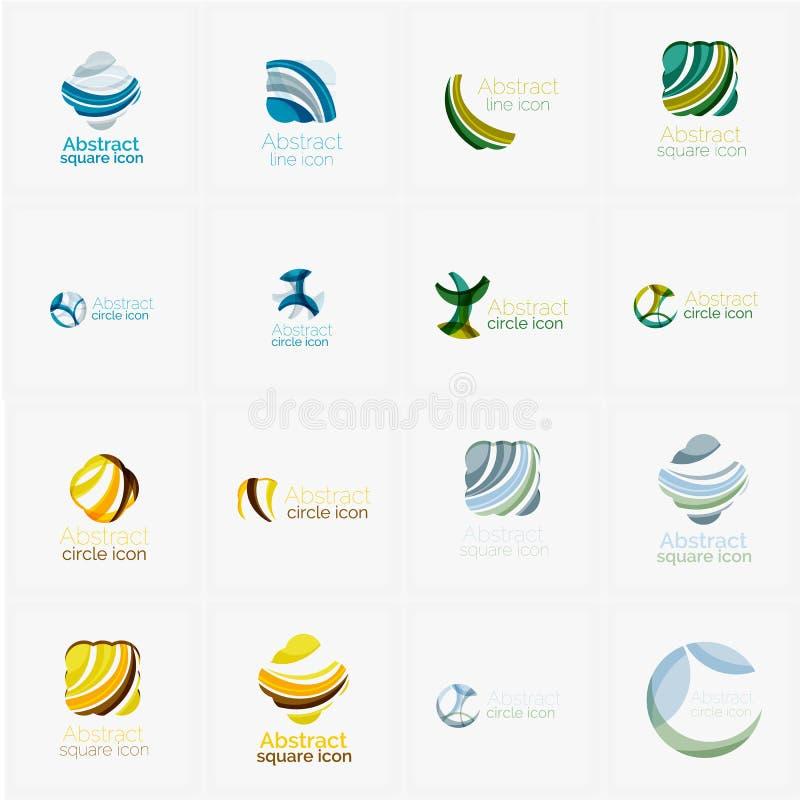 El sistema del remolino, onda alinea, los iconos del logotipo del círculo stock de ilustración