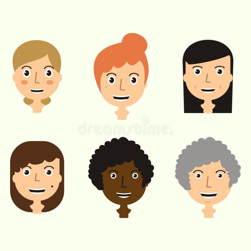 El sistema del ` s de los hombres hace frente a expresar emociones positivas Rostros humanos libre illustration