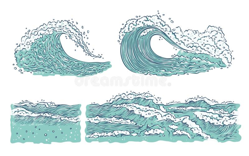 El sistema del vector agita el océano del mar Las explosiones azules grandes y pequeñas salpican con espuma y burbujas Ejemplo de libre illustration