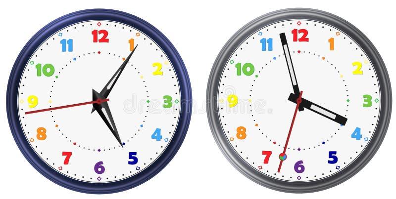 El sistema del vector del arco iris colorea el reloj redondo moderno con las diversas manos de reloj Cara colorida del dial de re ilustración del vector