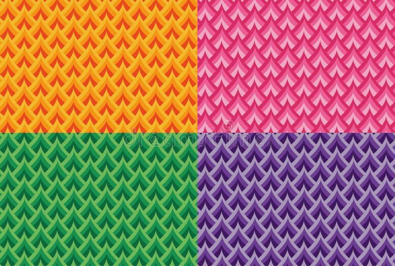 El sistema del vector colorido inconsútil escala modelos stock de ilustración