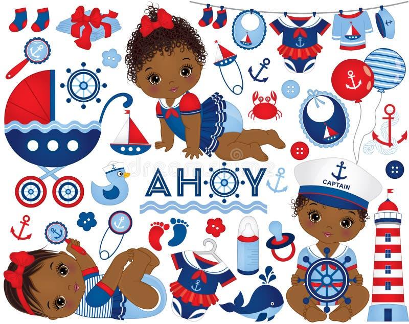 El sistema del vector con los bebés afroamericanos se vistió en estilo náutico y Marine Elements libre illustration