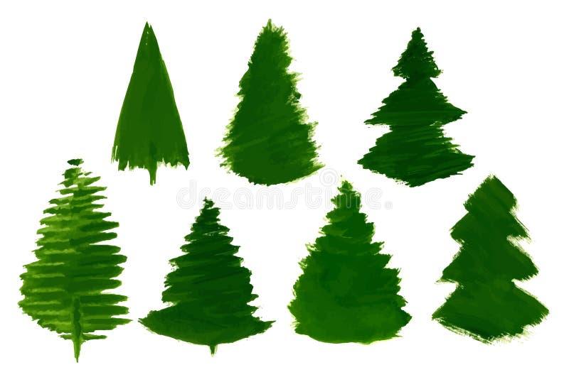 El sistema del vector de 7 árboles de pino de la historieta pintó aislado libre illustration